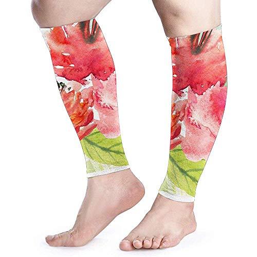 Bloem Aquarel Schilderij Kalf Compressie Mouw Mannen Womens Hardlopen Been Mouw voor Shin Splint Spier Pijn Relief