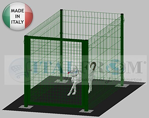 ITALFROM Enclos modulaire pour Chiens en Fer galvanisé et Verni Vert avec poteaux à tapissier - 200 x 100 x 142 cm