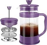 KICHLY - 8 tazas (1 litro / 1000 ml) Cafetera Francesa espresso y tetera con triple filtro émbolo de acero inoxidable (Ciruela)