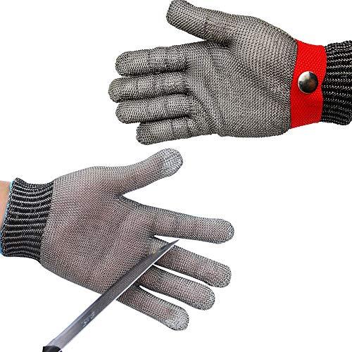 iusaSDZ Schneidfeste Handschuhe, Stufe 5 Sicherheit Schneidfeste stichfeste Edelstahl-Metallgitter-Metzger-Sicherheitsarbeitshandschuhe zum Fleischschneiden, Angeln M red