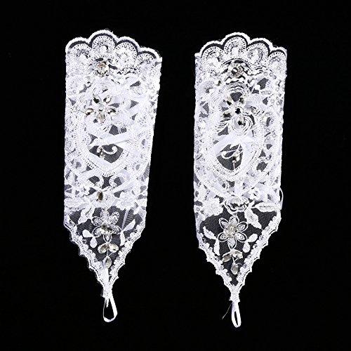 Brauthandschuhe Spitzenhandschuhe Hochzeit Braut Hochzeitshandschuhe Brautkleid Spitze Fingerlose Handschuhe mit Spitze Blumen für Hochzeitsfest ( Farbe : Weiß ) - 2