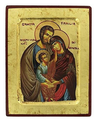 Impresión icónica sobre madera con fondo dorado 17x 14 cm–Sagrada Familia