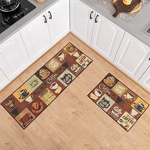 Carvapet 2 Piezas Alfombrillas de Cocina Antideslizantes Respaldo de Goma Felpudo Lavable Juego de Alfombras de Microfibra