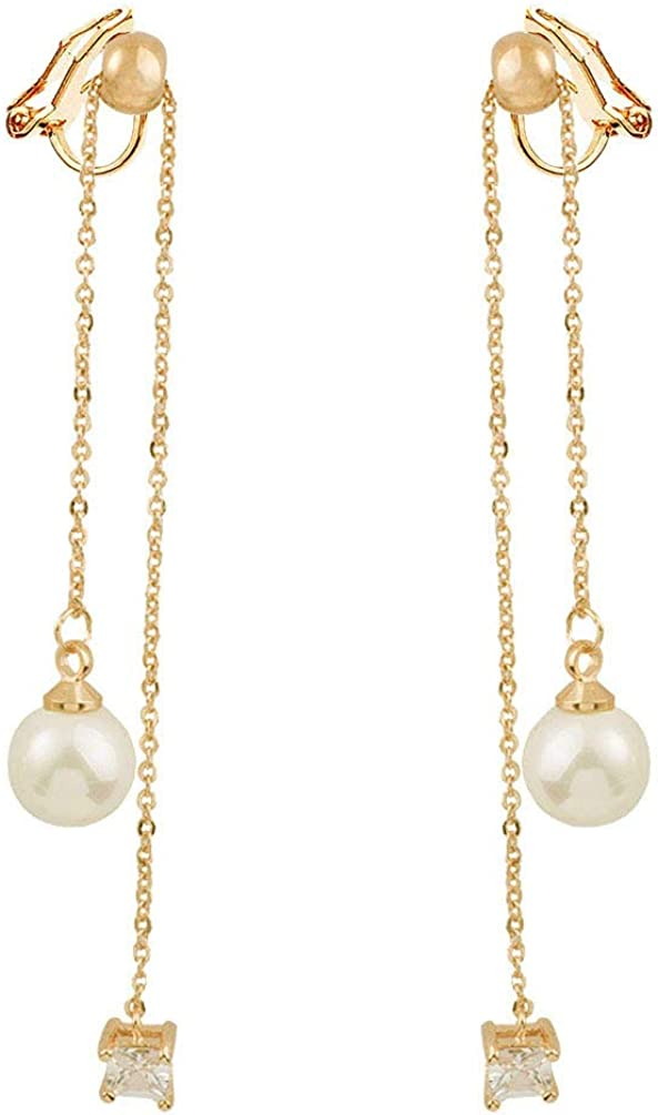 Clip on Dangle Earrings Long Tassels Rhinestones Created Pearl Women Girls No Pierced Drop