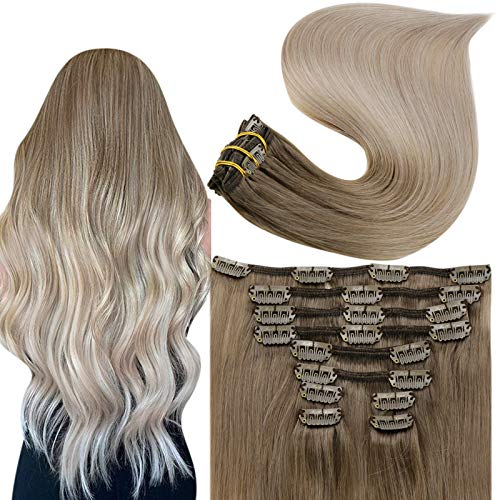 Fshine Clip in Hair Extensions Human Hair Remy Natural Hair 18Inch Real Hair Extensions Clip in Human Hair Ash Brown to Platinum and Blonde Balayage Clip in Hair Extensions for Women 10 Pieces 100G