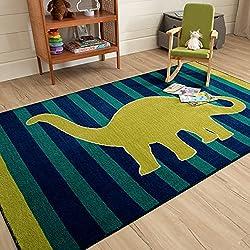 2. Mohawk Home Dinosaur Blue Striped Printed Kids Rug