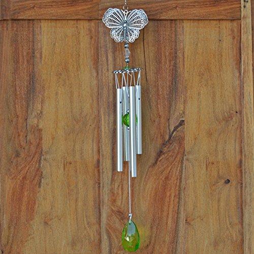 Fiesta Studios Carillon à vent papillon argenté et vert en métal Attrape-soleil 43 cm
