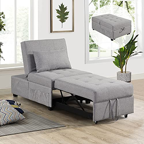 URRED Sleeper Chair Bed, Pull Out Sleeper Chair, Convertible Chairs into Beds, Folding Ottoman Sleeper Guest Beds, 4 in 1 Futon Chair with Lumbar Pillow, Side Pockets, Armless (Gray)