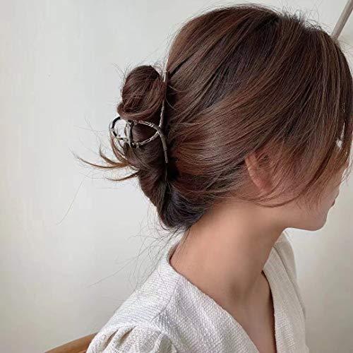 Schlichte Metall-Haarspange, geometrische Haarspangen, Metall-Haar-Accessoires, Kopfschmuck, Vintage-Metall-Clips, große Haarspangen, hell (Bambus-Stil)