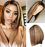 Highlight 4/27 Short Bob Lace Closure Human Hair Wigs for Black Women Brazilian Hair Short Straight 4x4 Lace Closure Brown Blonde Mixed Colored Wig Pre Plucked with Baby Hair 150% Density (12 inch)