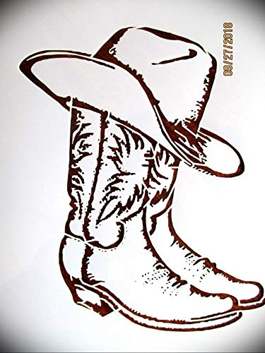 KCHEX Cowboy Boots and Hat Logo Stencil Template Reusable 10 mm Mylar Logo Arts and Crafts Material Scrapbooking for Airbrush Painting Drawing