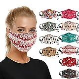 10 Stück Mundmaske 3D, Mehrweg Atmungsaktiv Stoff Bandana Halstuch Tuch, Mund und Nasenschutz Herren Damen Atmungsaktiv Sport Bandana Halstuch Bunt Weihnachten Drucken