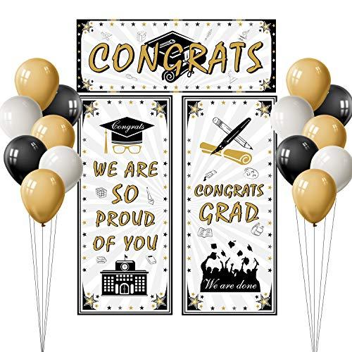 TUPARKA Banner de graduación de 2020 Grad Felicitaciones Banner de fondo con globos de fiesta de 15 piezas para decoraciones de fiesta de graduación