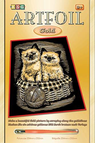 MAMMUT 8260602 - Artfoil, Kratzbild, Tiermotiv, Kätzchen, Katze, gold, Komplettset mit Kratzbild, Kratzmesser und Anleitung, Scraper, Scratch, glänzend, Kratzset für Kinder ab 8 Jahre