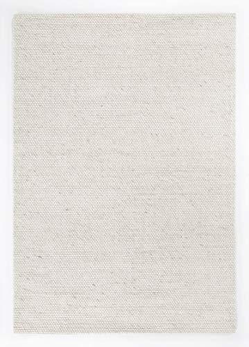 Barbara Becker Handwebteppich aus Wolle und Viskose, Webteppich für Wohnzimmer, Esszimmer, Schlafzimmer, Farbe:Creme, Größe:70 x 140 cm