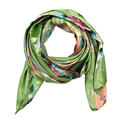 MANUMAR Schal Tier Pfau Blumen hellgrün bunt Schal Damen Schal Tuch Sommer Frühling Geschenk Freundin Damen