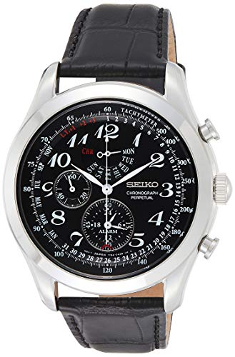 Seiko Neo Classic Chronograph Black Dial Black Leather Mens Watch SPC133