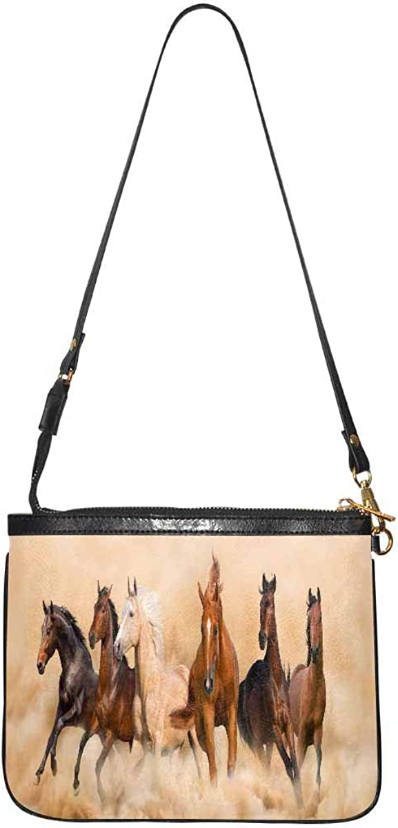 InterestPrint Lightweight Small Purse and Handbags with Detachable Strap for Women Horse Equestrian Passion Oil Painting