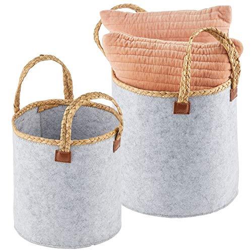 mDesign Juego de 2 cestas de fieltro con asas trenzadas – Cesta redonda para guardar ropa, sábanas, juguetes y más – Organizador de ropa plegable de tela – gris