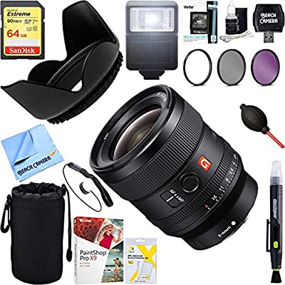 Sony (SEL24F14GM FE 24mm F1.4 GM Alpha Full-Frame E-Mount Wide Angle G Master Lens + 64GB Ultimate Filter & Flash Photography Bundle from Sony