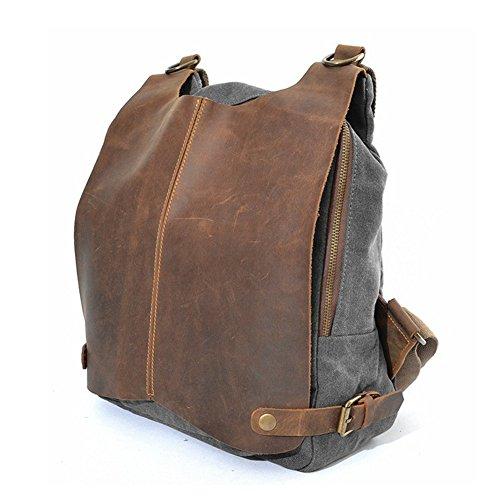 YAAGLE verrücktes Pferd Canvas Segeltuch Damen und Herren Unisex Rucksack erste Schicht aus Leder Retrotasche Schultertasche Reisetasche-grau
