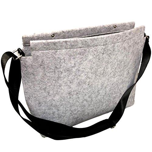 EKNA Filz Umhängetasche/Schultertasche| Mit Fächern Für Laptop, Tablet, Smartphone, etc. | ca. 45 x 35 x 10 cm | Grau