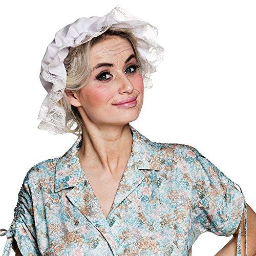 Boland 01401 - Mütze Großmutter, Kopfbedeckung, Oma-Mütze, weiße Haube, Kostüm, Karneval, Mottoparty