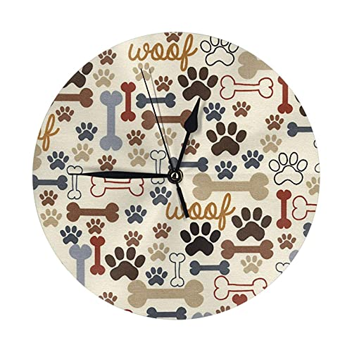 GOSMAO Round Wall Clock,Dog Bones Paw Prints Cream,Hanging Clock Desk Clock Decorative Clock For Home School Office