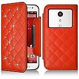 Seluxion-Funda tipo cartera universal M, diseño de diamantes color naranja para Motorola Moto G () segunda generación