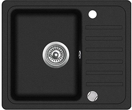 "LINDBERGH® Granit Spüle\""SIM11\"" 555 x 455 mm + kompl. Siphon, Einbauspüle Küchenspüle Spülbecken - Verbundstoffe MADE IN GERMANY (Schwarz)"