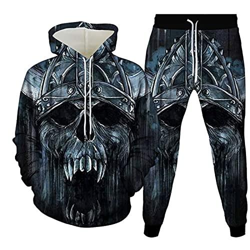 2-delige hoodiese voor heren Unisex casual hoodieset 3D schedel print sportkostuum/lange mouwen ronde hals hoodie met zakken + broek met trekkoord Goed voor Halloween/kerst/dagelijks(S-6XL) XXL