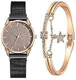 Cakunmik Relojes para Mujer con Joyería Set Pulsera Reloj De Mujer Moda Reloj Femenino Chicas Movimiento De Cuarzo Correa De Acero,Negro