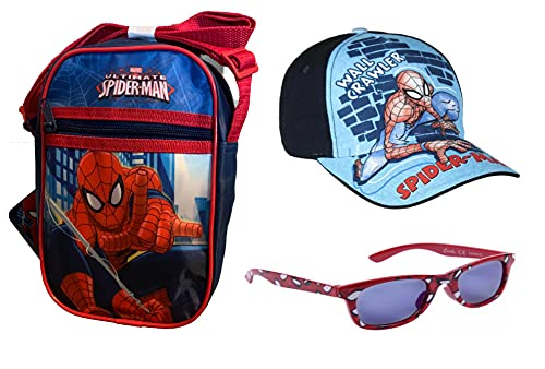 Moderno juego de 3 piezas de Spiderman, bolso de hombro, gorro y gafas de sol, todo en un aspecto a juego, para niños, Spiderman, diseño de Marvel, color Azul, talla Medium