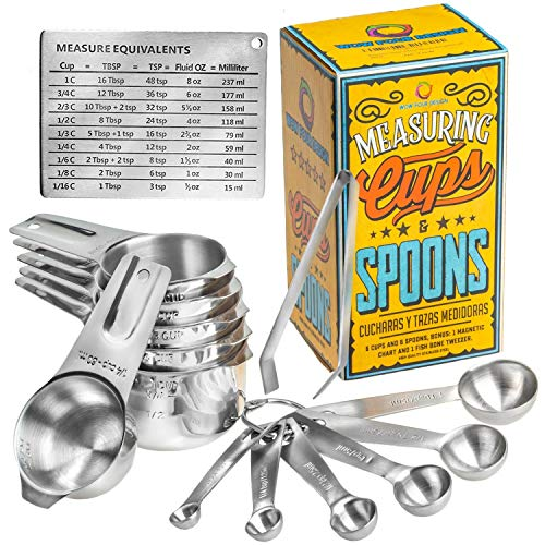 Wow Four Design Updated 2020 Version Measuring Cups and Spoons Set of...