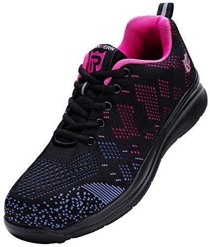 LARNMERN PLUS Zapatillas de Seguridad Mujer Ligero Zapatos Seguridad Punta de Acero Antiperforación Comodas Transpirable Calzado de Trabajo Antideslizante Construcción Zapatos(Negro Púrpura,40EU)