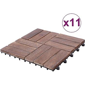 Goliraya Baldosas de Terraza Baldosas Cuadradas para Suelos de Exterior Suelo para Exterior 11 uds Madera Maciza Reciclada Marrón 30x30 cm: Amazon.es: Hogar