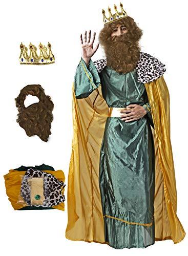 Gojoy shop- Disfraz y Corona de Rey Mago Baltasar, Caspar ó Melchor para Hombres...