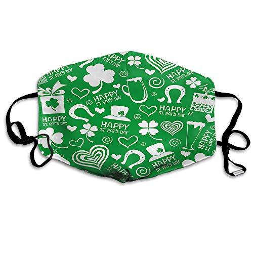 Ldshyf St.Patrick's Day Mundschutz Icon Blume Blatt abstrakter Bier Schaumstoff Hut Pflanze grün Anti-Staub Ohrschlaufen wiederverwendbar waschbar Gesichtsschutz Mund Schal für Männer Frauen