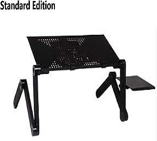 LLEH Mesa de Cama, Escritorio portátil para Regazo Escritorio para portátil Plegable Versión estándar con Grandes Ventiladores y Soporte para Mouse,Negro