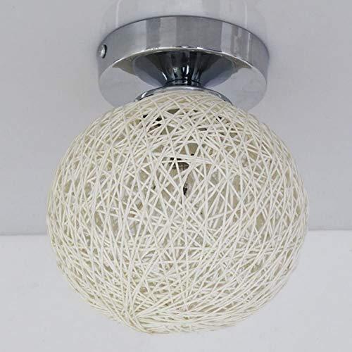 YZ-YUAN Lámpara de Techo de Bola pequeña de ratán de bambú Luz LED Moderna E14 Iluminación Interior Dormitorio Linterna de cabecera Restaurante Pasillo Cafe Instalación de iluminación de Techo