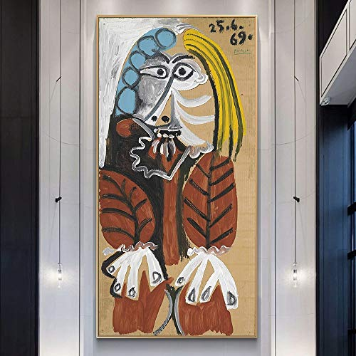 GJQFJBS Pablo Picaso Berühmte Kunst Gemälde Drucken Auf Leinwand Kunst Poster Und Drucke Abstrakte Klassische Frau Wandkunst Bilder Wohnkultur Replik (Rahmenlos) 50x90CM