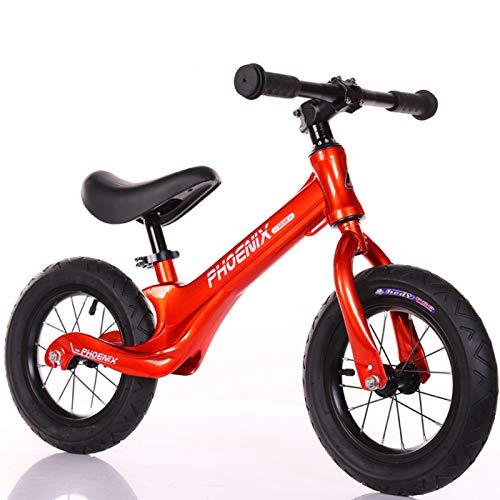 Niños Bicicleta de Equilibrio Aleación de magnesio Balance Bike con Sillín Ajustable Excelente Regalo para Niños y Niños Pequeños Radios Rueda Inflable, Rojo
