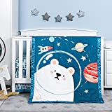 TILLYOU 4-Piece Space Theme Crib Bedding Set for Boys, Luxury Nursery Bedding Essential Including 1 Padded Comforter, 1 Crib Skirt and 2 Silky Soft Microfiber Crib Sheets, Standard Size, Bear