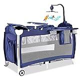 KLI Portable Pliant Nouveau-Né Bébé Berceau Bébé Nid Bambin Coton Musique Jeu Pépinière Lit De Voyage pour Bébé, Palace Moustiquaire 125X65x77cm,Blue