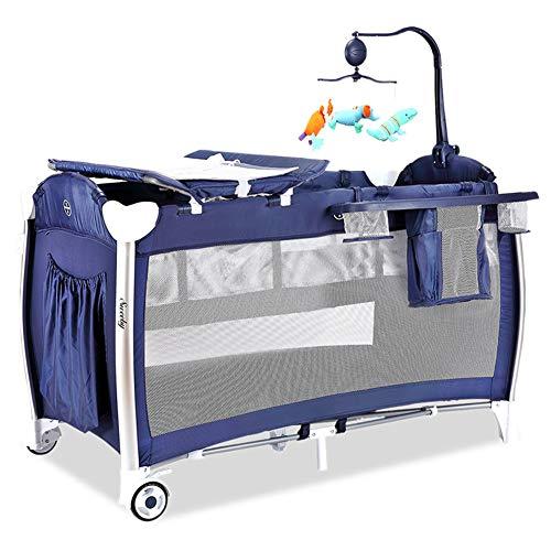 KLI Portátil Plegable Recién Nacido Bebé Cuna Bebé Nido Bebé Juego De Música De Algodón Cama De Viaje De Guardería para Bebé, Mosquitera Palace 125X65x77cm,Blue