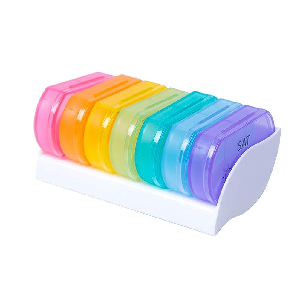 HEALLILY 7ピルピル7日色調剤ピルボックス小さなピルボックス薬ピル収納タブレットサブボックス