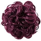 PRETTYSHOP XXXL Hairpiece Hair Wrap Scrunchie Scrunchy Updos, VOLUMINOUS, Curly Messy Bun, Wine