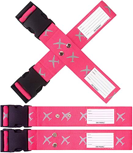 Personalised Luggage Cross Straps for Suitcases (2 Pack Pink) OW-Travel Easy to Spot Sturdy Suitcase Straps with Luggage labels. Luggage Strap Travel Belt for Suitcase Bag Baggage.Bag Strap Case Belts