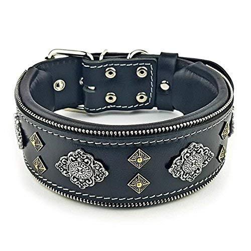 """Bestia™ """"Aztec Echtleder Hundehalsband für große Hunde. 100% Leder. Weich gepolstert. 6,3 cm breit. Einzigartiges Design und Qualität!"""