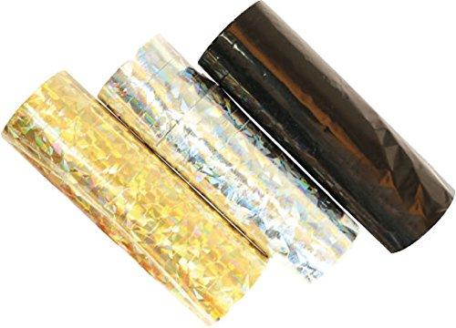 18 Luftschlangen * Gold + Silber + SCHWARZ-METALLIC * als Deko für Party, Geburtstag oder Jubiläum // 3 Rollen // Silvester Tischdeko
